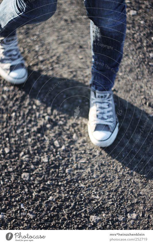 Autumn walk Human being Legs 1 Earth Jeans Footwear Chucks Movement Rotate Blue Brown White Running Walking Distorted Trouser leg Haste Fashion Sequence