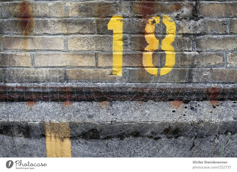 18 Industrial plant Factory Building Wall (barrier) Wall (building) Stone Brick Digits and numbers Large Yellow Accuracy Arrangement Decline Value Year Birthday