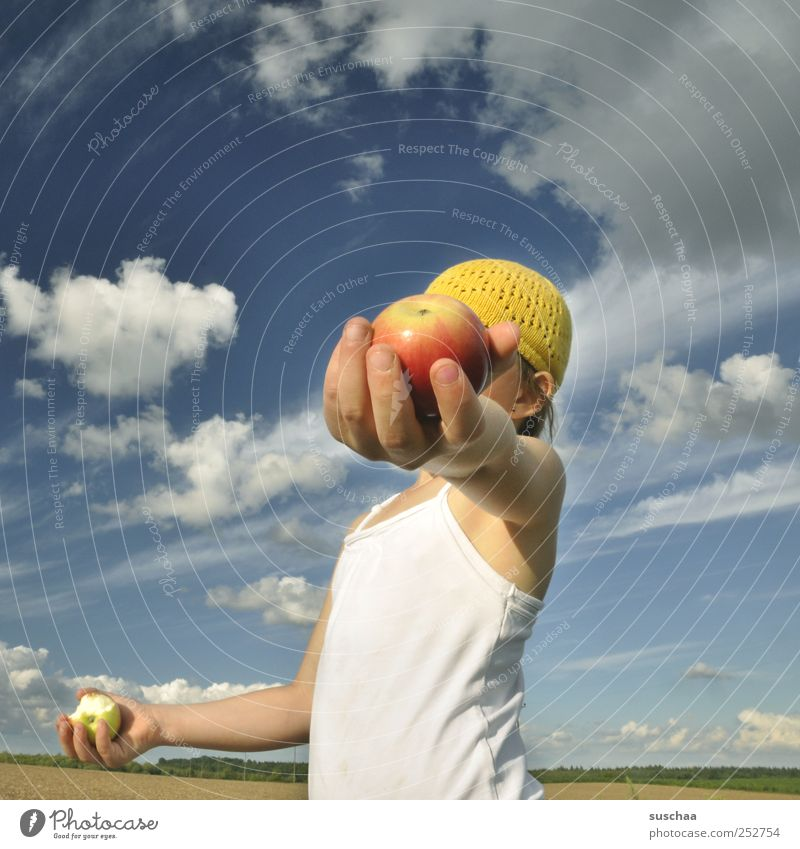 Human being Child Sky Nature Hand Girl Summer Clouds Environment Landscape Head Air Horizon Healthy Infancy Field
