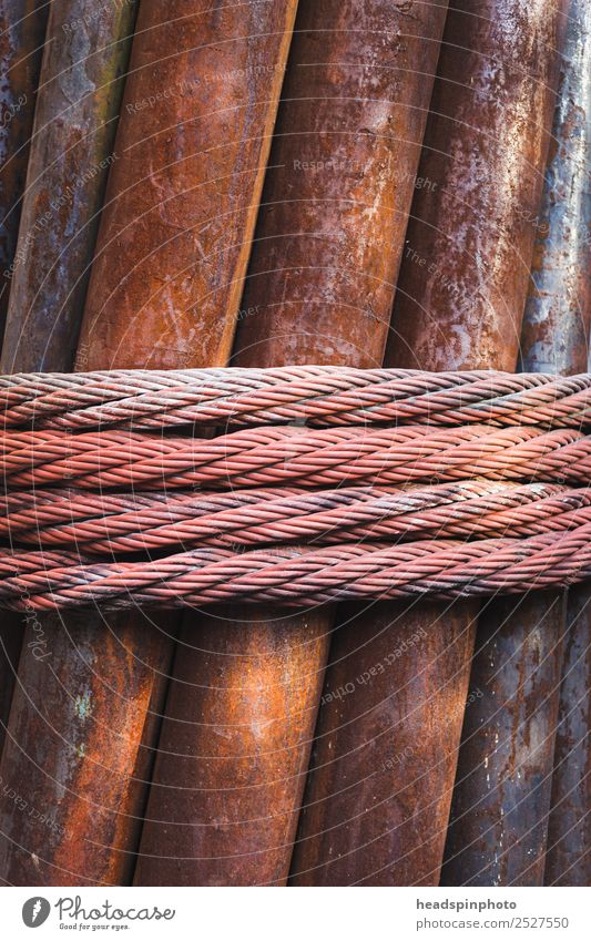 Rusty iron pipes wrapped with steel cable Cable Industry Art Metal String Bow Firm Safety Symmetry Wire cable Iron Steel cable Steel construction Coil Rope