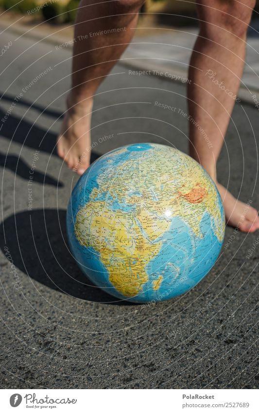 #S# World Soccer Environment Nature Joy Earth Globe Feet Asphalt Playing Player Tread Shot Planet Barefoot Sphere Continents Map Blue Colour photo Exterior shot