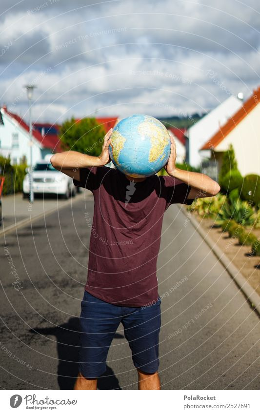#S# World man Masculine Joy Happy Young man Creativity Globe Head Funny Sphere Round Street Settlement Esthetic Headache Climate change Climate protection Earth