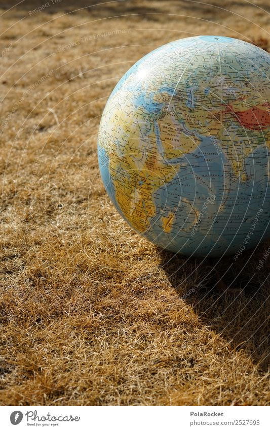 #S# Drought II Environment Nature Protection Earth Globe Grass Planet Continents Map Climate Climate change Sphere Meadow Straw Colour photo Exterior shot