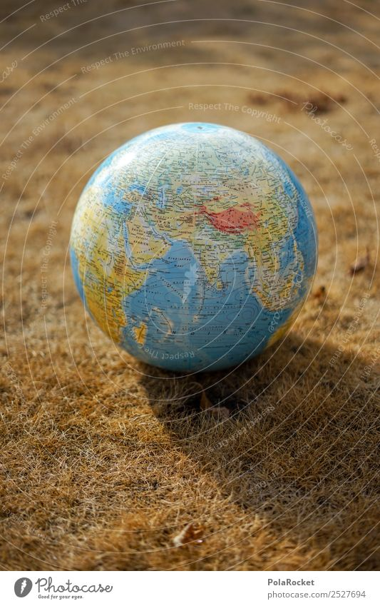 #S# Drought I Environment Climate Climate change Weather Concern Earth Globe Burnt Straw Cast Planet Climate protection Grass Creativity Colour photo