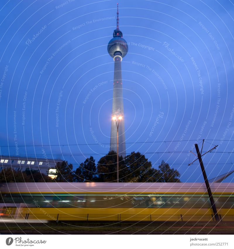 Sky City Blue House (Residential Structure) Movement Lanes & trails Berlin Line Illuminate Transport Perspective Climate Speed Logistics Cable Manmade structures