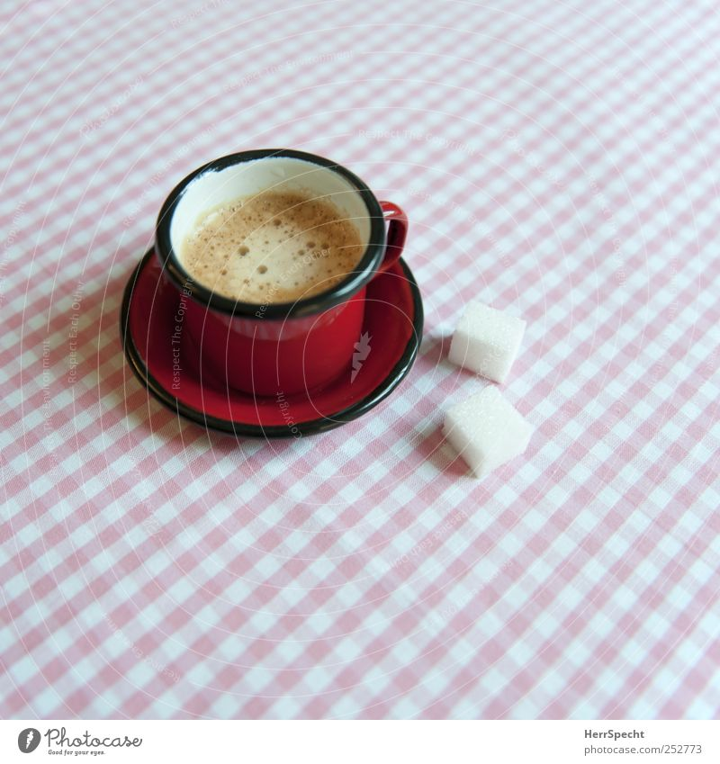 breakfast To have a coffee Beverage Hot drink Coffee Espresso Cup Living or residing Flat (apartment) Pink Red White Saucer Sugar Lump sugar Checkered