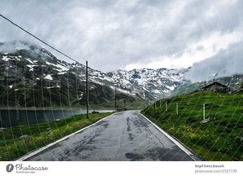 Vacation & Travel Landscape Clouds Mountain Dark Street Environment Cold Sadness Lanes & trails Transport Idyll Adventure Perspective Threat Alps