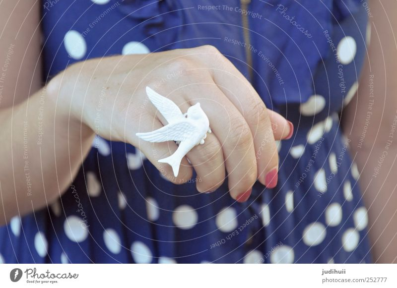 Dove Ring Feminine Hand Fingers 1 Human being Fashion Clothing Accessory Jewellery Pigeon Hip & trendy White Peaceful Hope Dove of peace Colour photo Detail