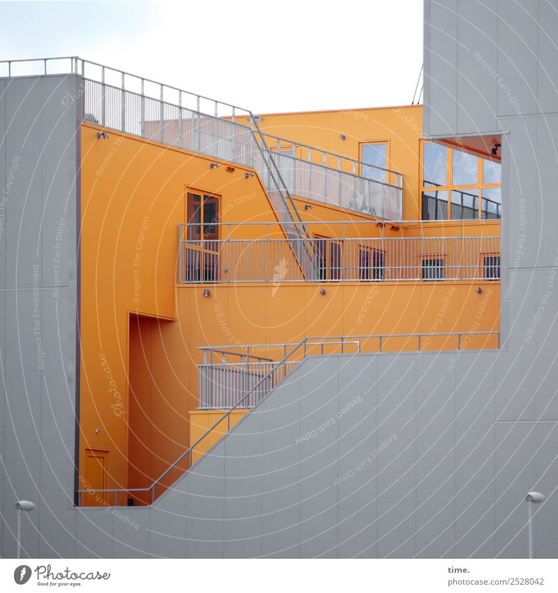Town House (Residential Structure) Window Architecture Yellow Wall (building) Wall (barrier) Exceptional Gray Facade Design Stairs Modern Creativity Perspective