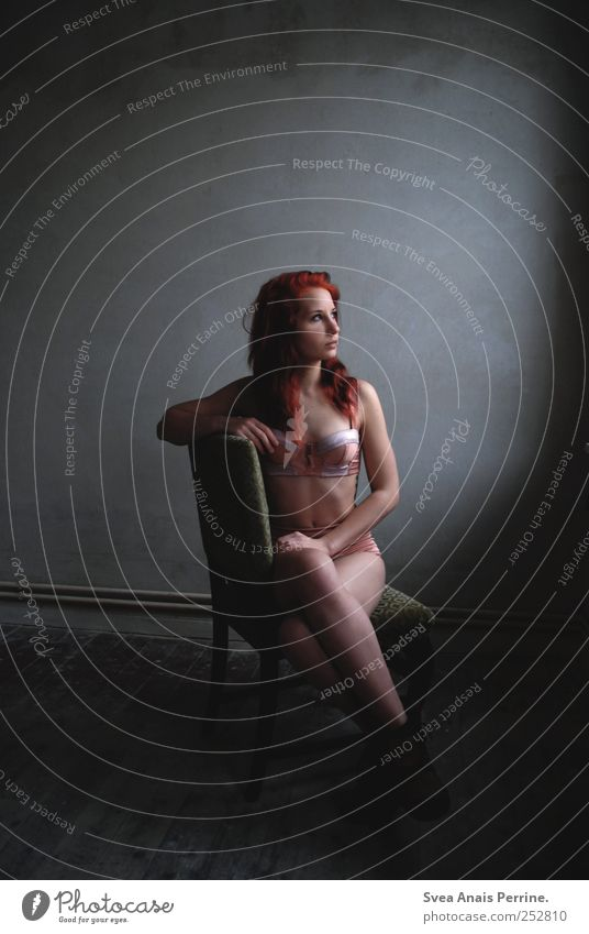 licht.blick. Feminine Young woman Youth (Young adults) Body Hair and hairstyles 1 Human being 18 - 30 years Adults Wooden floor Chair Underwear Red-haired