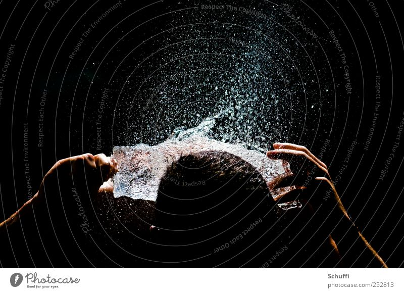 Human being Water Beautiful Black Head Hair and hairstyles Wet Drops of water Masculine Esthetic Exceptional Near Snapshot Aggression Short exposure