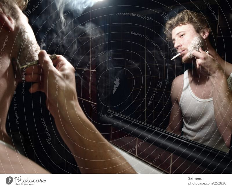 Human being Man Youth (Young adults) Adults Masculine Perspective Smoking Bathroom 18 - 30 years Mirror Serene Smoke Cigarette Intoxicant Personal hygiene