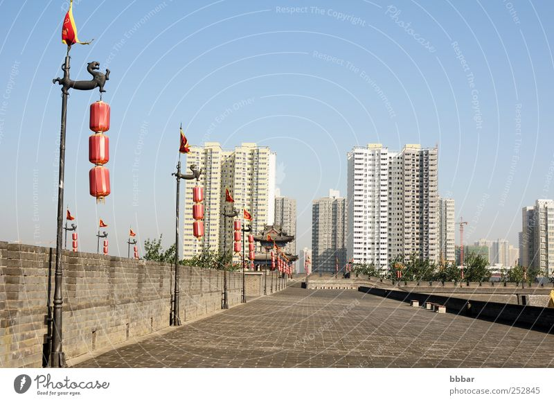 Landmark of the famous ancient city wall of Xian, China Sky Old Blue White City Red Vacation & Travel Landscape Architecture Gray Building Lamp Park Brown Flat (apartment)