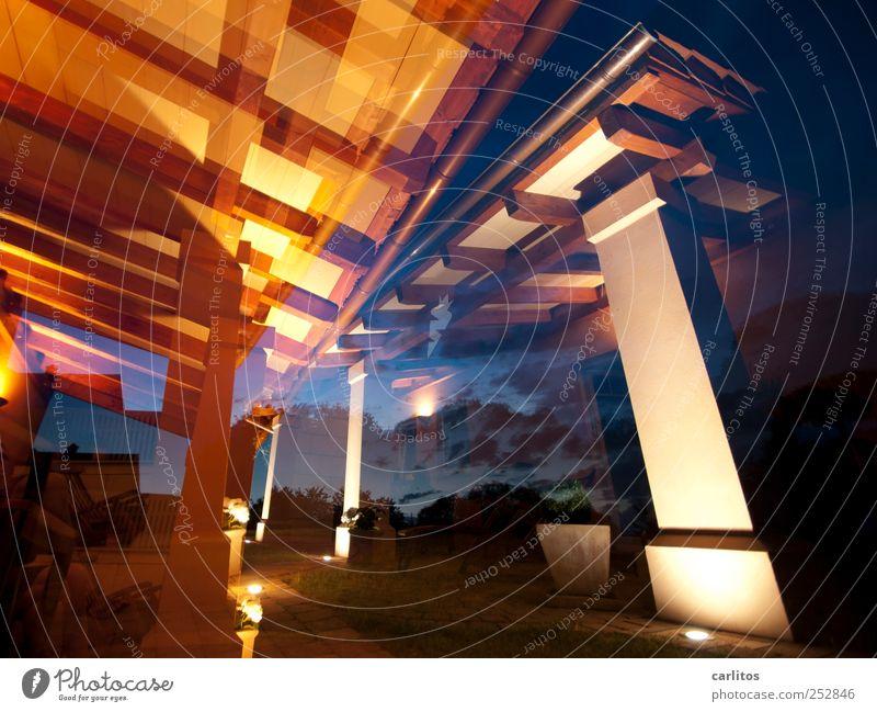 summer night Night sky Summer Architecture Roof Eaves Esthetic Roof beams Column Capital of a pillar bovedillas Light Floodlight Under Flare Double exposure