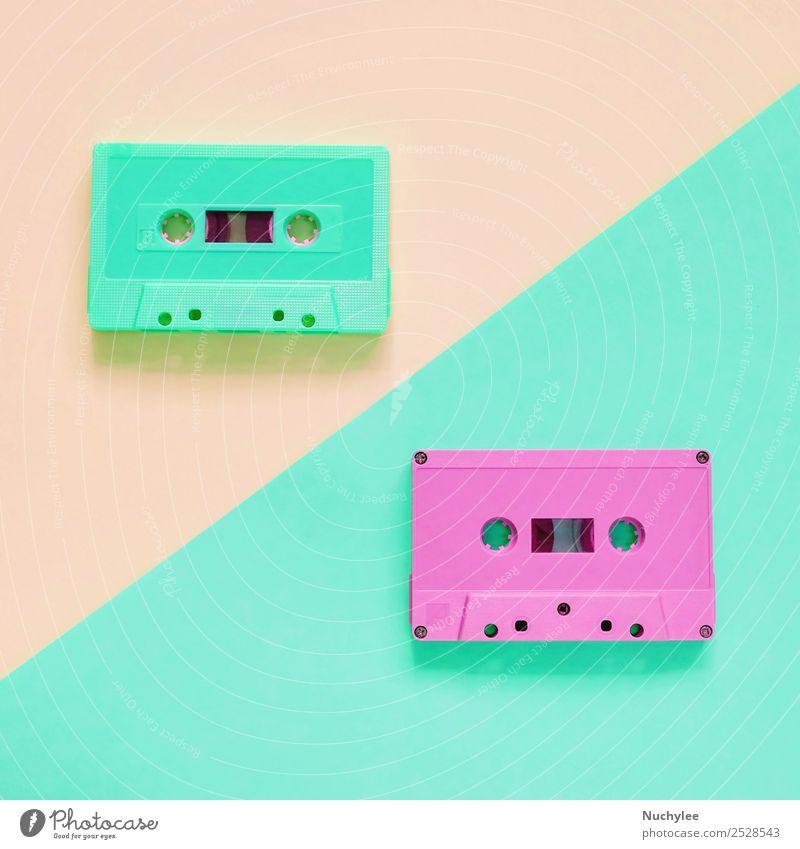 Flat lay retro colorful cassette tape Old Colour Green Black Yellow Style Pink Design Retro Music Plastic Media Listening Analog Nostalgia Side