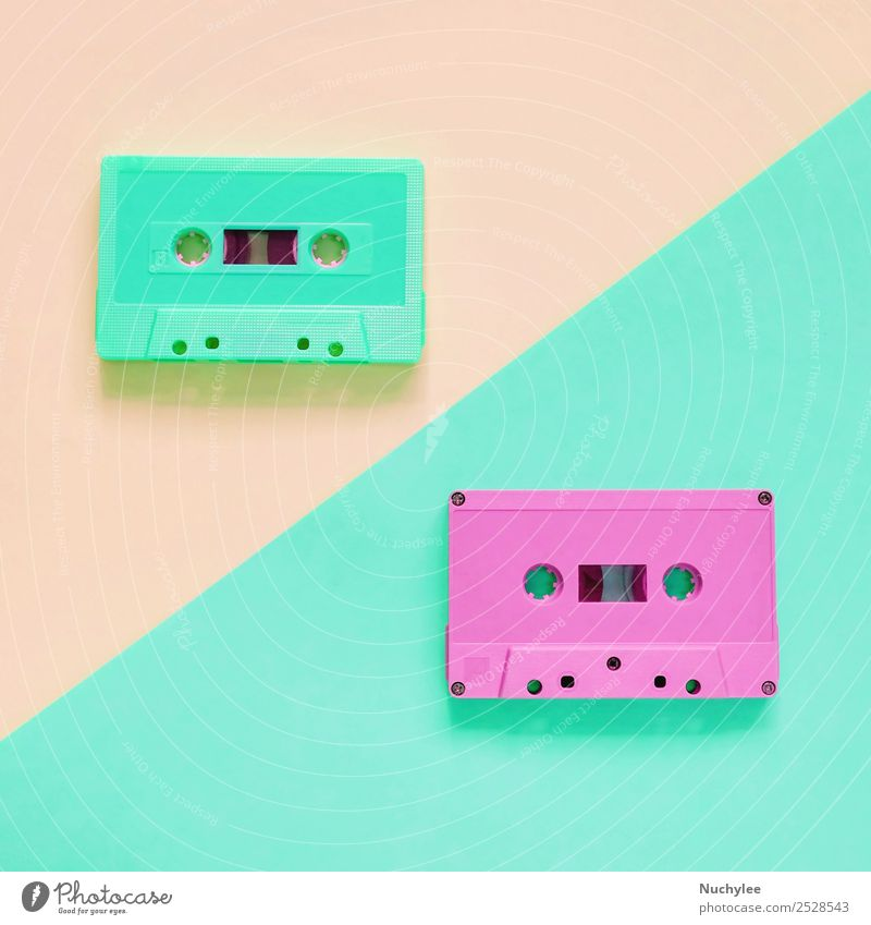 Flat lay retro colorful cassette tape Style Design Entertainment Music Media Plastic Old Listening Retro Yellow Green Pink Black Colour Nostalgia Tape cassette