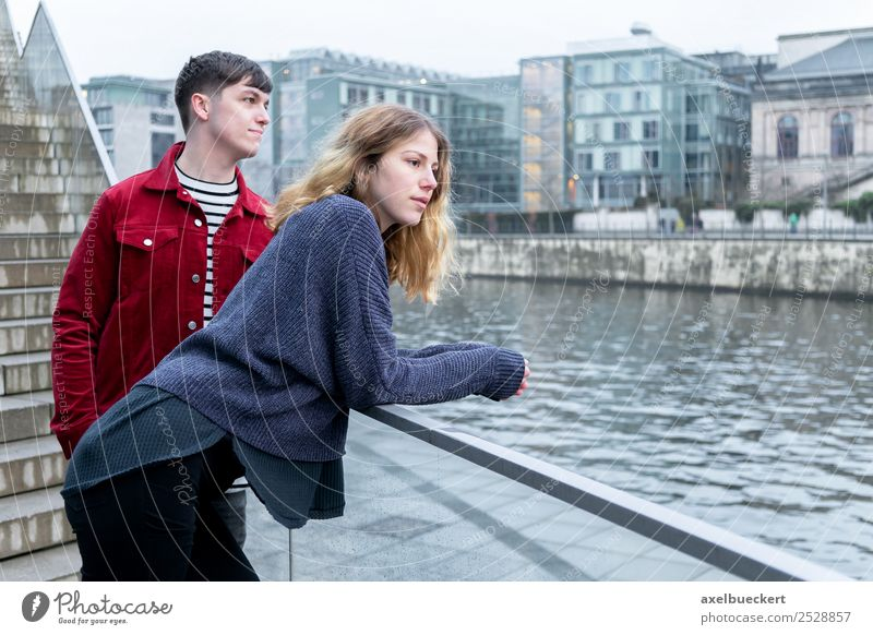 young couple on the Spree in Berlin Lifestyle Leisure and hobbies Vacation & Travel Sightseeing City trip Human being Masculine Feminine Young woman