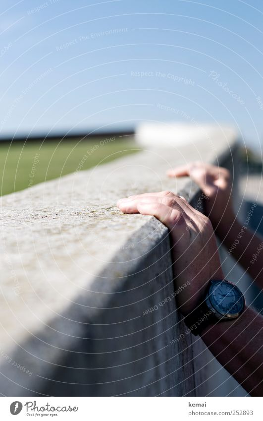 Hold the wall Human being Masculine Man Adults Life Hand Fingers 1 45 - 60 years Park Meadow Wall (barrier) Wall (building) Accessory Wristwatch Concrete wall
