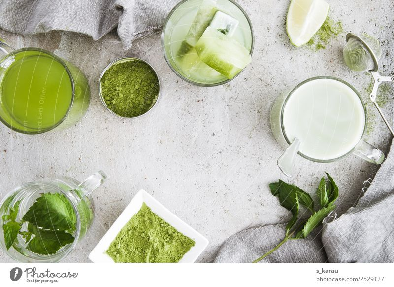 Matcha Herbs and spices Beverage Cold drink Hot drink Drinking water Lemonade Milk Tea Cup Glass Healthy Life Relaxation Summer Fresh Hip & trendy Green Energy