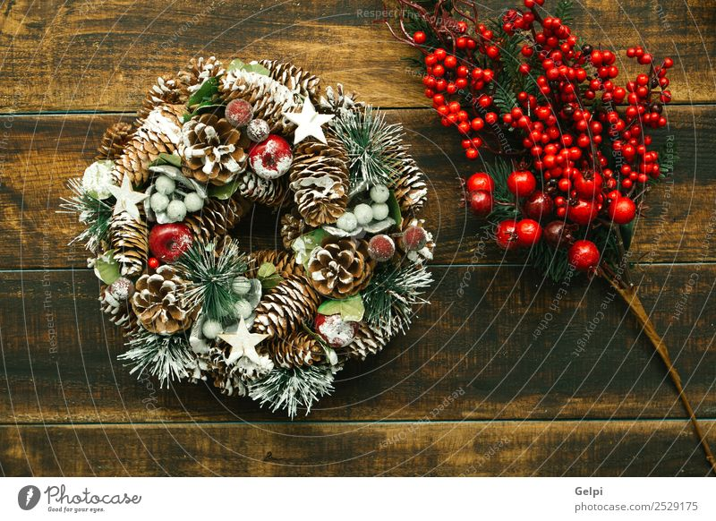 Christmas wreath formed by natural elements Fruit Apple Luxury Design Winter Snow Decoration Feasts & Celebrations Christmas & Advent Autumn Tree Wood Ornament