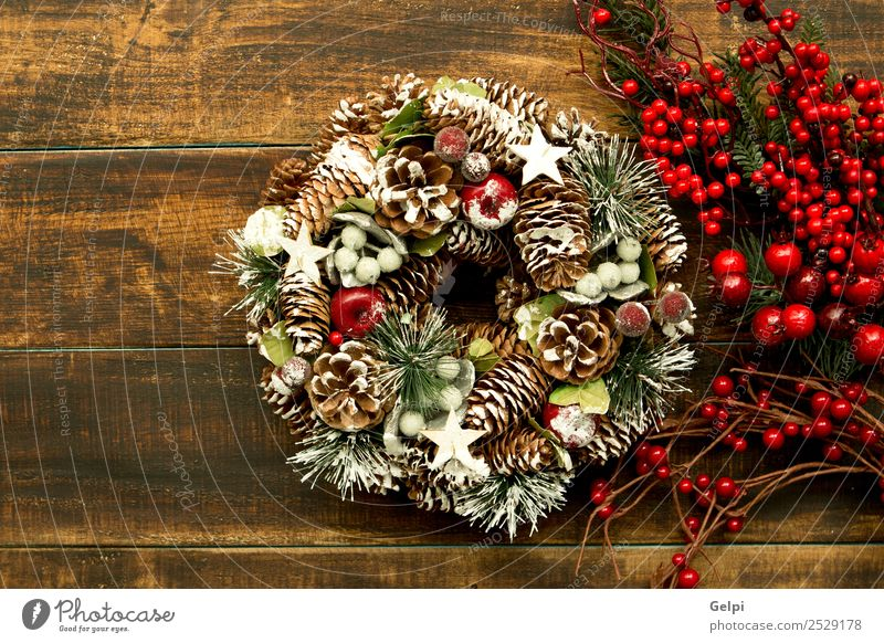 Christmas wreath formed by natural elements Old Christmas & Advent Green Tree Red Winter Autumn Wood Snow Feasts & Celebrations Copy Space Design Fruit