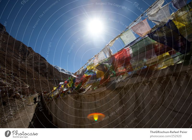 Sky Blue Red Far-off places Black Yellow Mountain Religion and faith Brown Tourism Hiking Holy Monastery Himalayas Nepal Prayer flags
