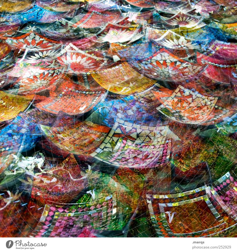 Colour Design Shopping Crazy Uniqueness Many Double exposure Chaos India Bowl Ornament Work of art Mosaic