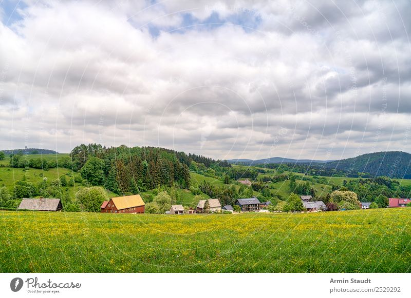 Village in Saxony Calm Vacation & Travel Tourism Trip Adventure Far-off places Freedom Hiking Environment Nature Landscape Sky Clouds Spring Summer