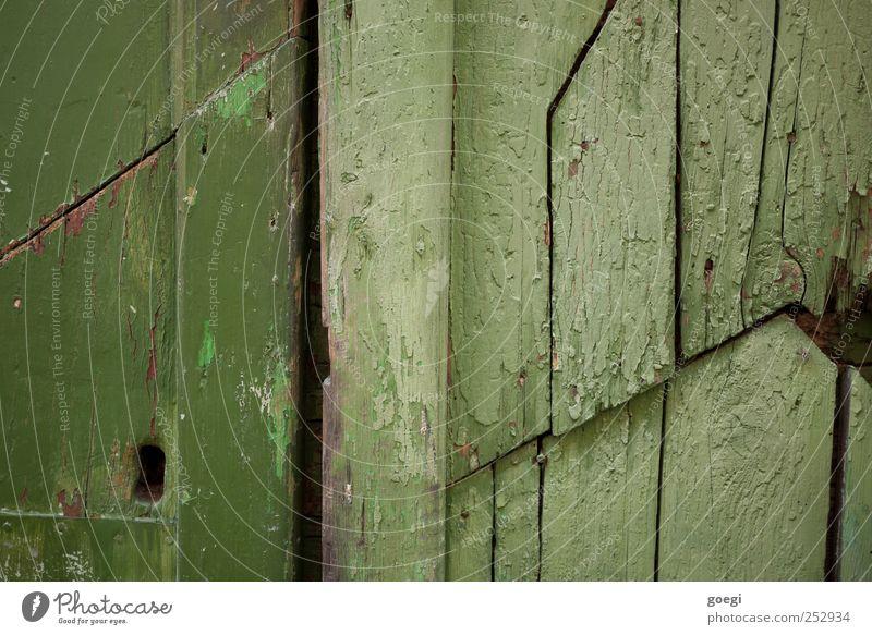 Green Wood Door Broken Painting (action, work) Gate Keyhole