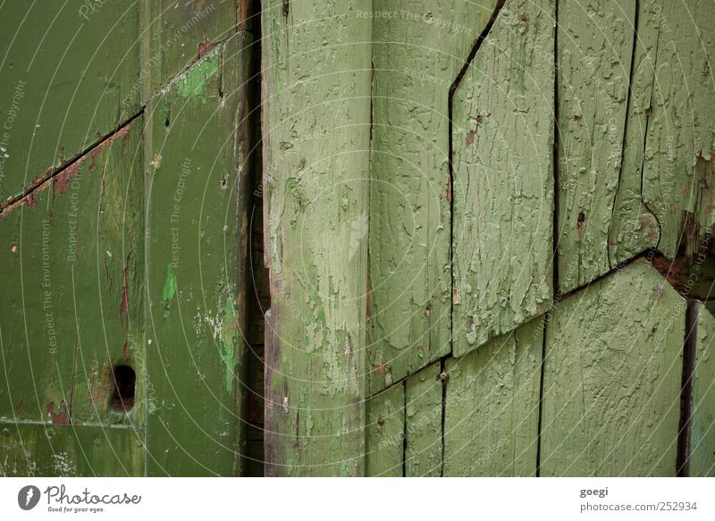 Green Wood Door Broken Painting (action, work) Gate Keyhole