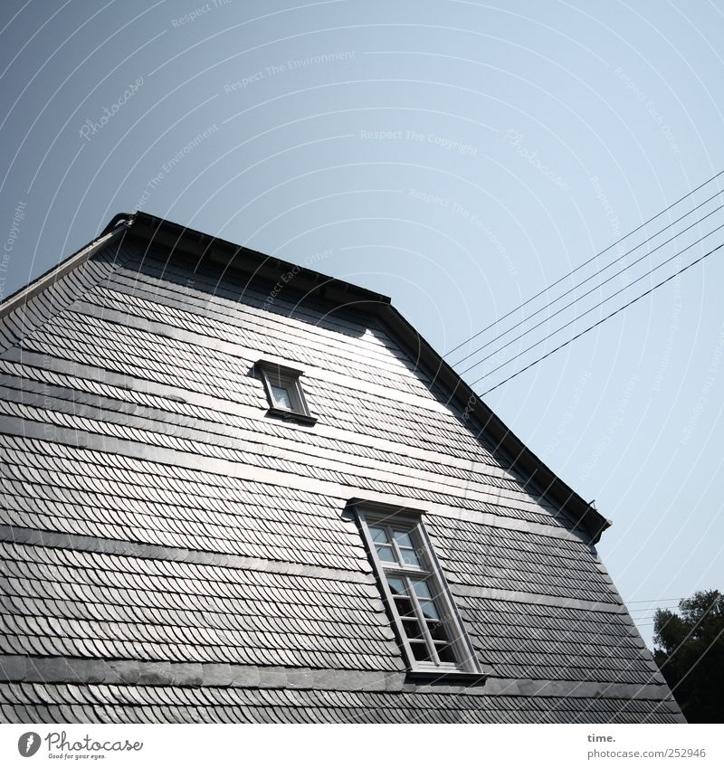 Better half House (Residential Structure) Energy industry Cable Sky Facade Window Glittering Gray Optimism Apartment Building Transmission lines Steel cable
