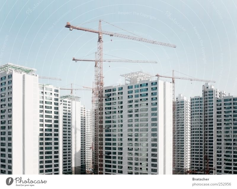 White Window Building Flat (apartment) Tall High-rise Modern Future Construction site Manmade structures China Story Crane Quarter Anonymous