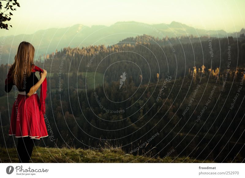 Human being Woman Nature Vacation & Travel Youth (Young adults) Young woman Relaxation Landscape Far-off places Forest Environment Adults Mountain Autumn Meadow
