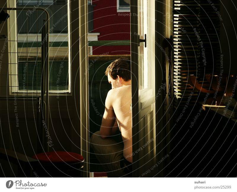 sunbeam Balcony Man Light Living or residing home decor Beam of light Back Smoking