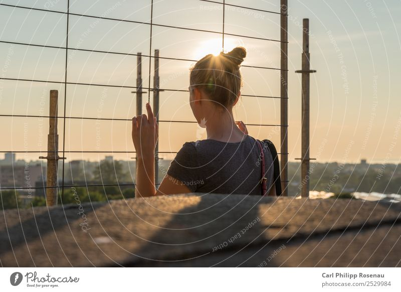 Young woman against the light Vacation & Travel Freedom Summer Sun Youth (Young adults) Woman Adults 1 Human being 18 - 30 years Sky Sunlight Tallinn Fence