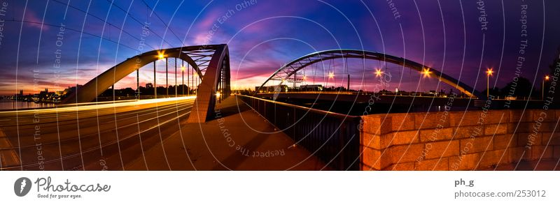 Jersualem Bridges Magdeburg Germany Europe Town Downtown Street Wall (barrier) Wall (building) Jerusalem bridges Blue Yellow Violet Red Black Movement Lamp