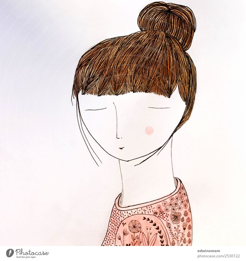 Brown hair Leisure and hobbies Handicraft Draw Feminine Young woman Youth (Young adults) 1 Human being Sweater Brunette Braids Paper Decoration Smiling Dream