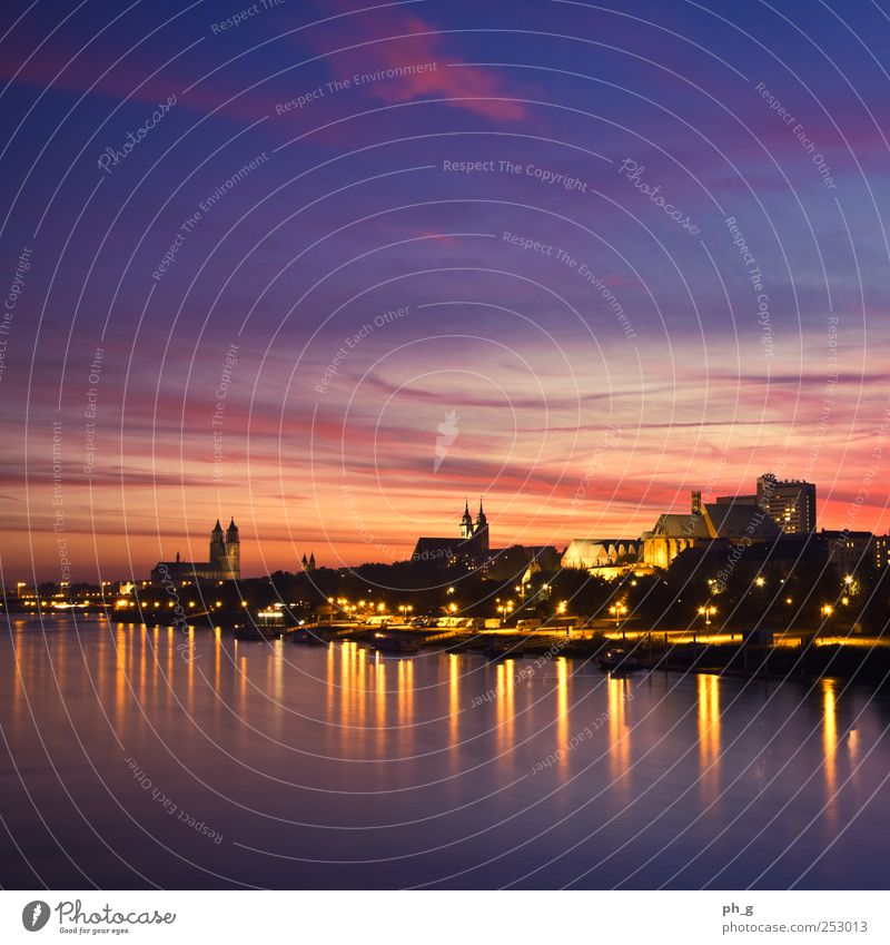 Magdeburg Skyline Germany Europe Town Old town High-rise Church Dome Manmade structures Building Architecture Blue Yellow Gold Violet Red Black Idyll Moody Elbe