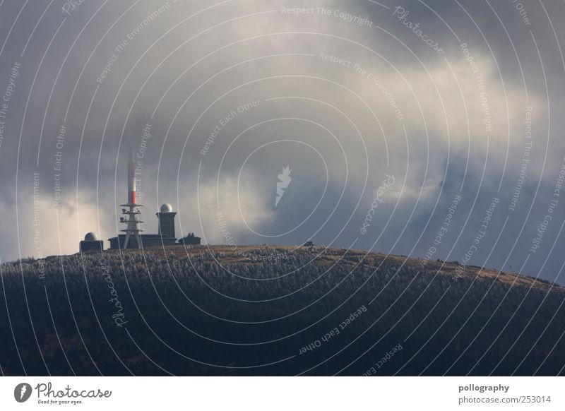 On top of the World Mountain Technology Advancement Future Information Technology Transmitting station Walkie-talkie Nature Landscape Earth Air Sky Clouds