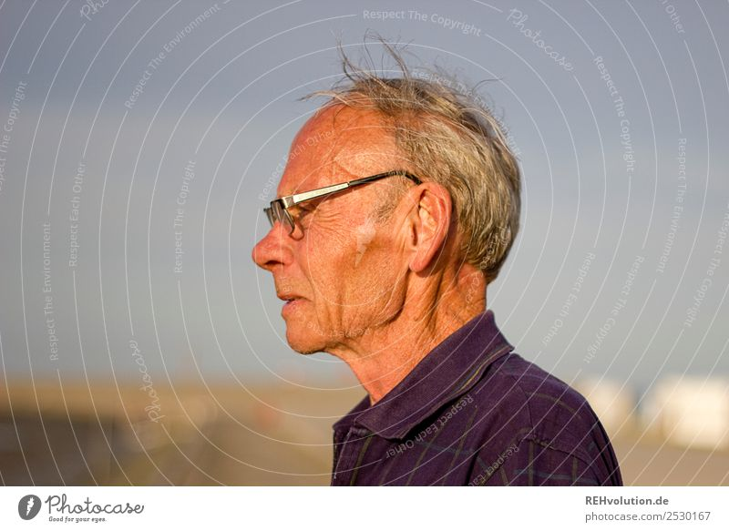 Old man with vision in summer Vacation & Travel Summer Summer vacation Beach Ocean Human being Masculine Male senior Man Grandfather Senior citizen Life Head 1