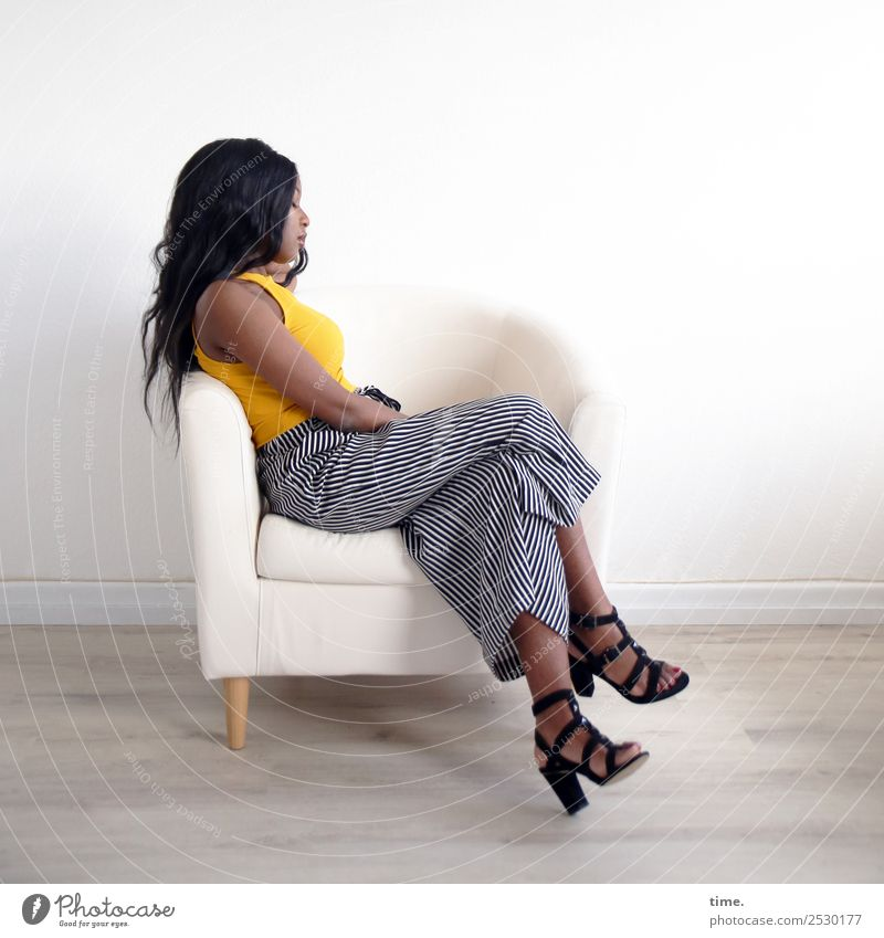arabella Armchair Room Feminine Woman Adults 1 Human being T-shirt Pants High heels Black-haired Long-haired Relaxation Sleep Sit Dream Beautiful Serene Patient