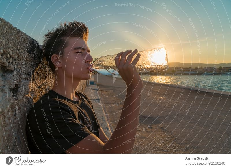 Drink the sun Lifestyle Joy Beautiful Harmonious Contentment Relaxation Calm Tourism Summer vacation Island Human being Masculine Young man Youth (Young adults)