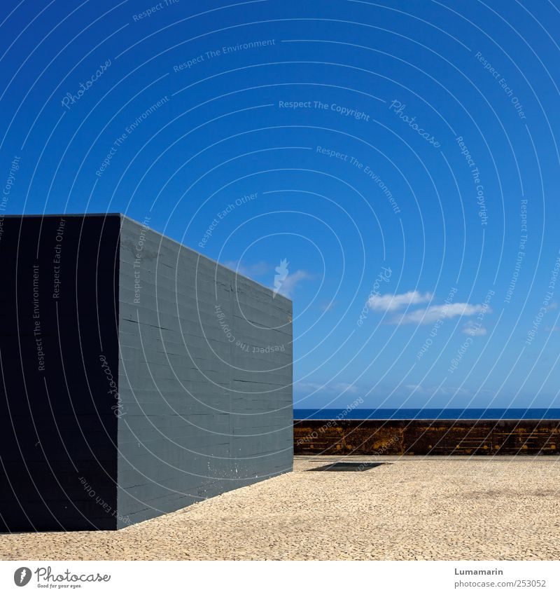 Sky Ocean Far-off places Wall (building) Environment Architecture Gray Wall (barrier) Stone Building Horizon Arrangement Concrete Modern Large Island