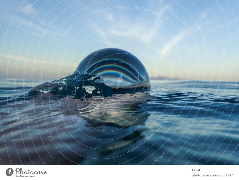 Ocean Surface Close Up with Glass Ball Vacation & Travel Landscape Sky Sphere Fresh Bright Uniqueness Wet Blue White Relaxation Sustainability Nature Pure Earth