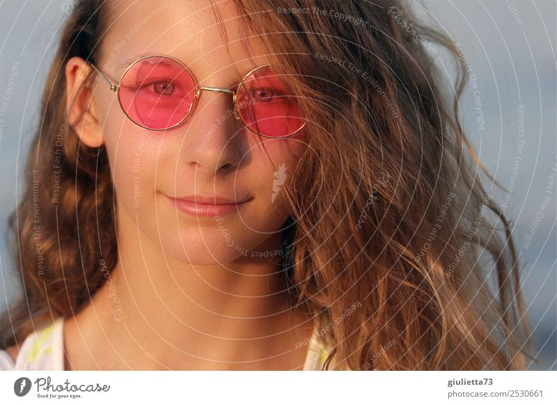 My world is pink teenage girl with pink glasses Girl Young woman Youth (Young adults) Life 1 Human being 13 - 18 years Summer Beautiful weather Eyeglasses