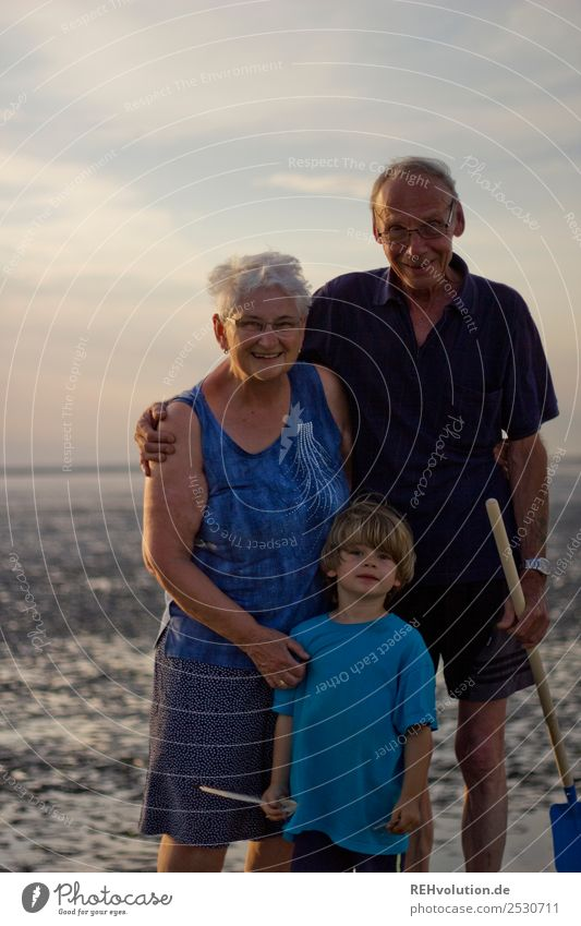 Family holiday - Grandma - Grandpa - Grandchild in the mud flats Vacation & Travel Summer Summer vacation Human being Masculine Feminine Child Boy (child) Woman