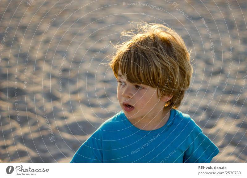 Boy staring Vacation & Travel Trip Summer Summer vacation Sun Beach Ocean Human being Child Boy (child) Infancy Head 1 3 - 8 years Environment Nature T-shirt