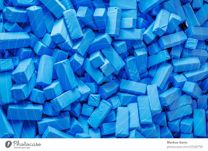 Blue foam blocks Style Design Jump Soft Foam rubber Cuboid Crowd of people Background picture Structures and shapes Many Colour photo
