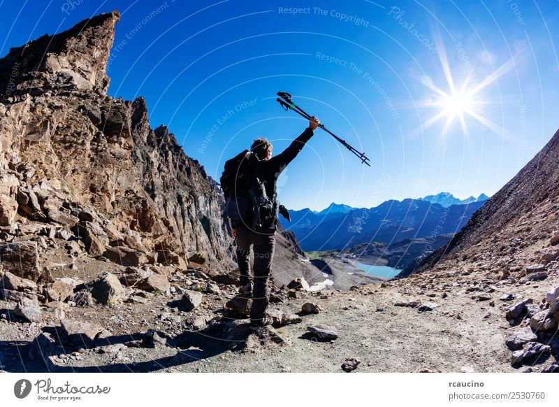 Hiker reaches a high mountain pass Vacation & Travel Adventure Expedition Summer Sun Mountain Hiking Sports Success Man Adults Nature Landscape Sky Alps Peak