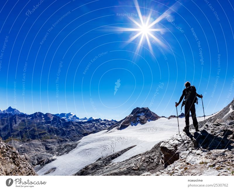 Hiker reaches a high mountain pass, Italian Alps, Val D'Aosta Vacation & Travel Adventure Expedition Summer Sun Mountain Hiking Sports Success Man Adults Nature